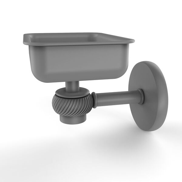 Satellite Orbit One Matte Gray Four-Inch Wall Mounted Soap Dish with Twisted Accents, image 1