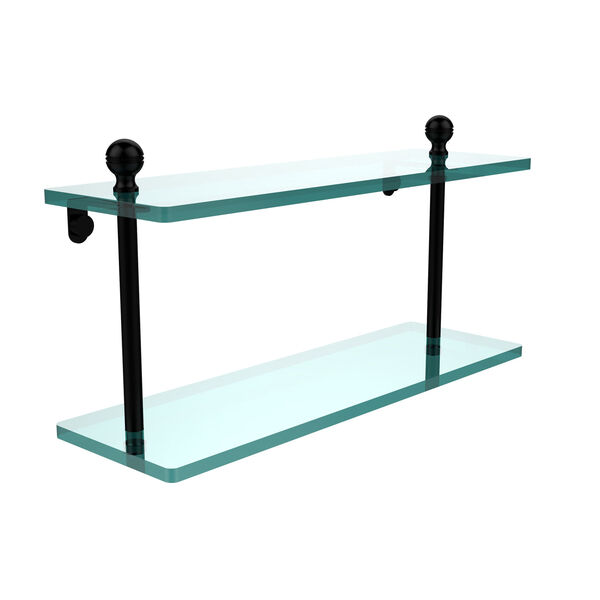 Matte Black 16 x 5 Double 3/8 Glass Shelf, image 1