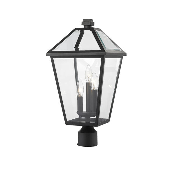 Talbot Black Three-Light Outdoor Post Mount Fixture with Transparent Bevelled Glass, image 1
