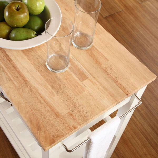 Natural Wood Top Kitchen Cart/Island With Optional Stool Storage in White Finish, image 6
