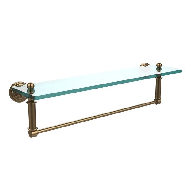 Waverly Place Brushed Bronze 22x5 Glass Shelf w/ Towel Bar, image 1