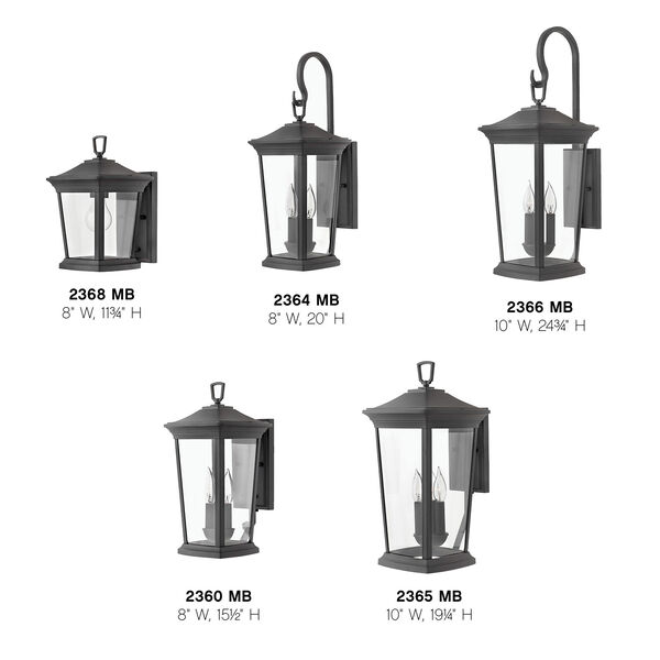 Bromley Museum Black 20-Inch Two-Light Outdoor Small Wall Mount, image 4