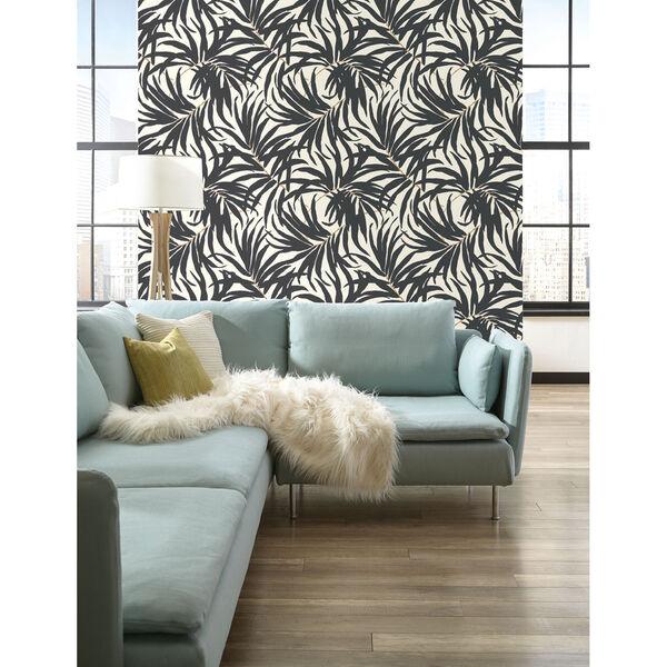 Ashford House Tropics Off-White and Grey Bali Leaves Wallpaper, image 3