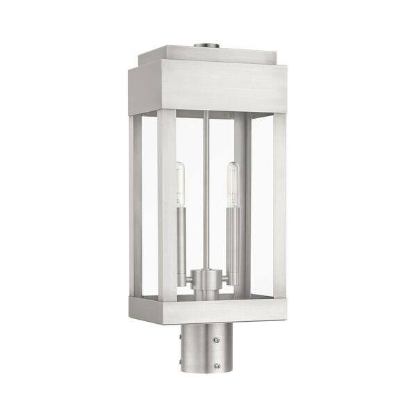 York Brushed Nickel Two-Light Outdoor Post Lantern, image 2