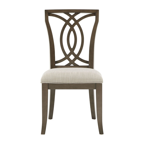 Gloria Dark Walnut and Beige Dining Chair, Set of Two, image 2