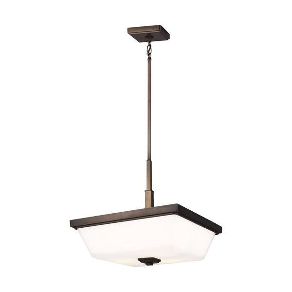 Ellis Harper Brushed Oil Rubbed Bronze Three-Light Pendant with Etched White Inside Shade Energy Star, image 2