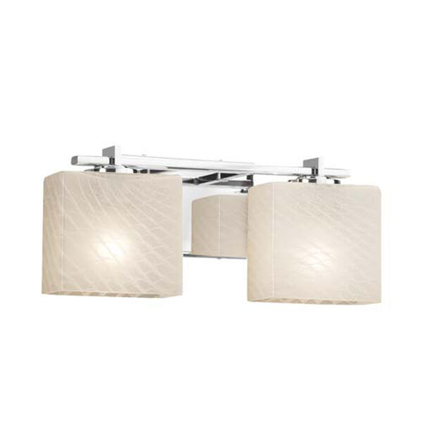 Fusion - Era Polished Chrome Two-Light LED Bath Bar with Rectangle Weave Shade, image 1
