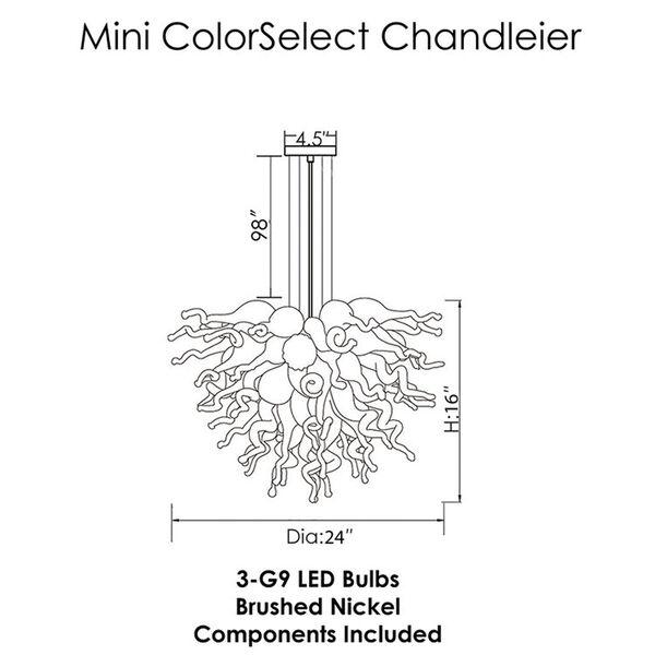 Blue Love Aqua and Opaline Three-Light LED Chandelier, image 2
