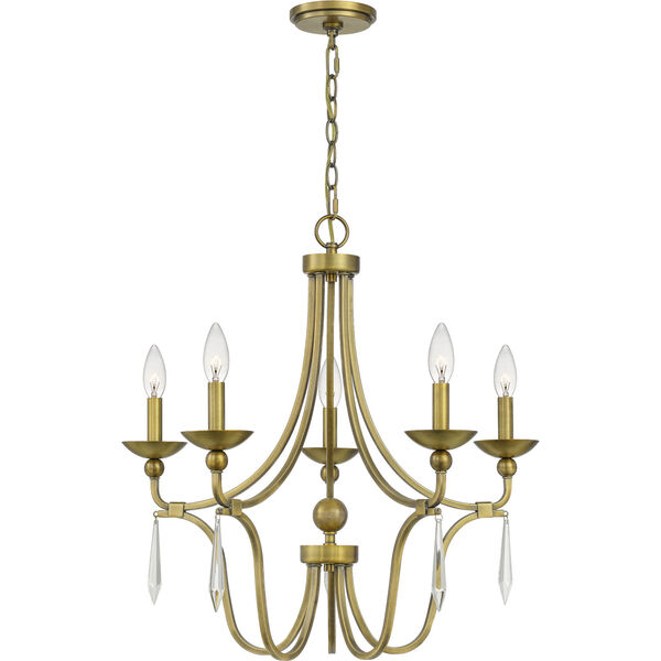 Joules Aged Brass Five-Light Chandelier, image 1