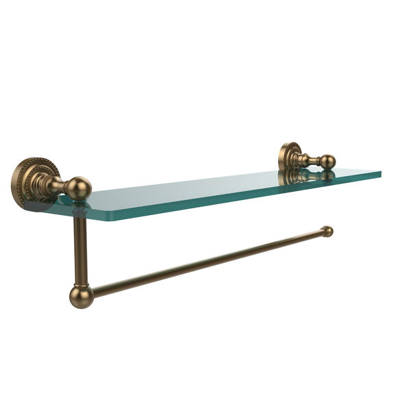 Dottingham Collection Paper Towel Holder with 22 Inch Glass Shelf, Brushed Bronze, image 1