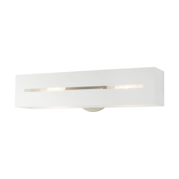 Soma Textured White and Brushed Nickel Two-Light ADA Wall Sconce, image 3