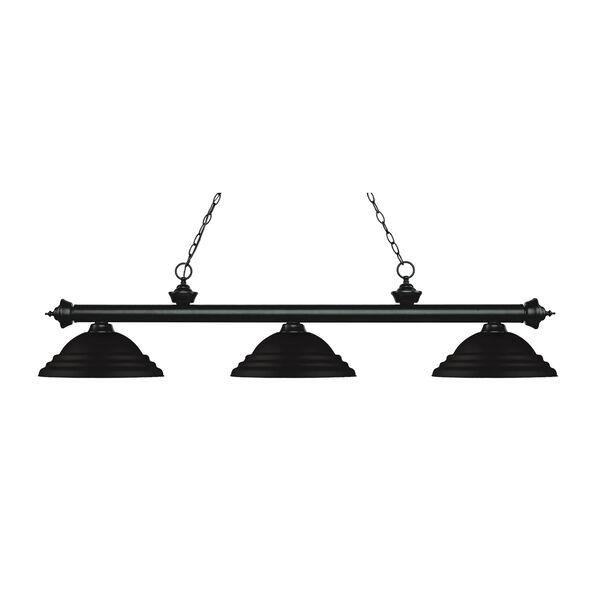 Riviera Matte Black Three-Light Pendant with Stepped Matte Black Metal Shades, image 1