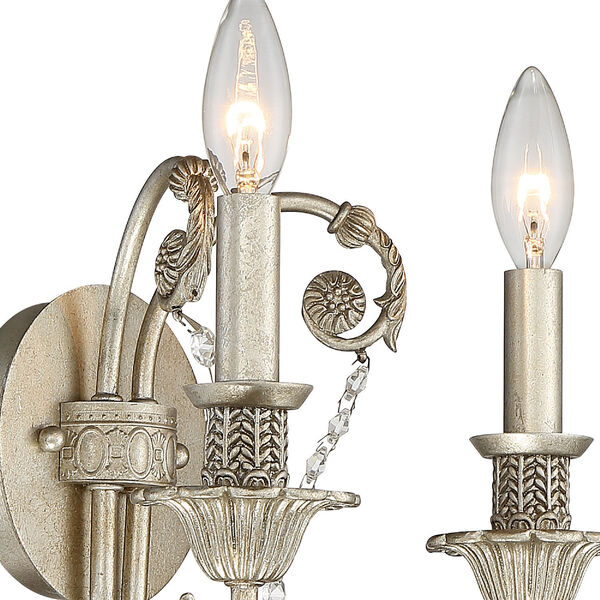 Regis Olde Silver Two-Light Wall Sconce with Hand Polished Crystal, image 3