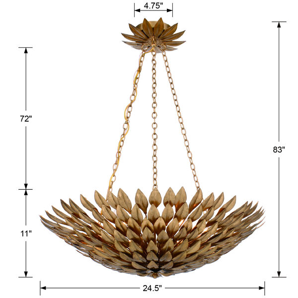 Broche Antique Gold Six-Light Gold Leaf Pendant Chandelier, image 5