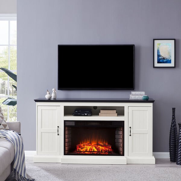 Belranton White and black Widescreen Electric Fireplace with Media Console, image 1