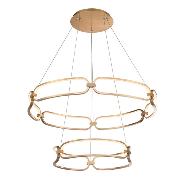 Charmed Soft Gold 32-Inch Two-Ring LED Chandelier, image 1