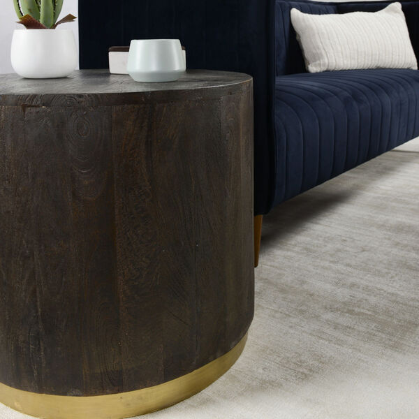 Andy Espresso Brown and Antique Brass End Table, image 4