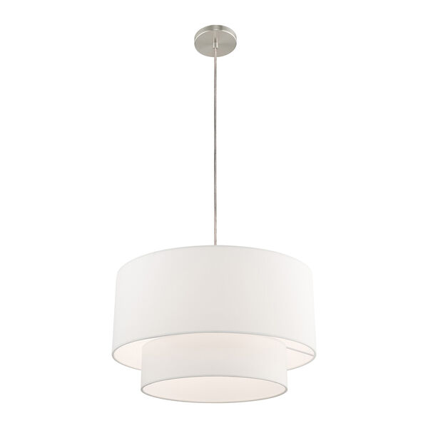 Clark Brushed Nickel 20-Inch One-Light Pendant Chandelier with Hand Crafted Off-White Hardback Shade, image 4