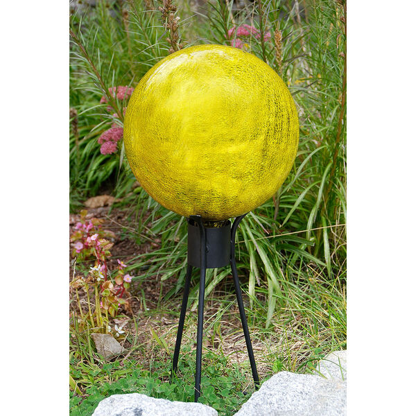 Gazing Globe 10 Inch Lemon Drop Crackle, image 4
