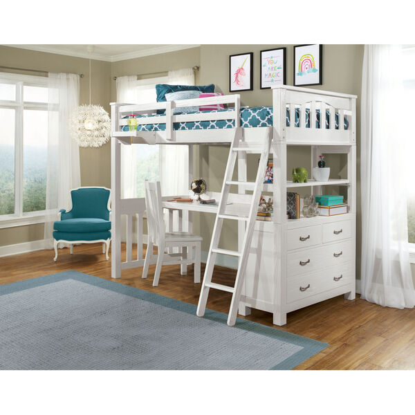 Highlands White Full Loft Bed With Desk, Chair And Hanging Nightstand, image 1
