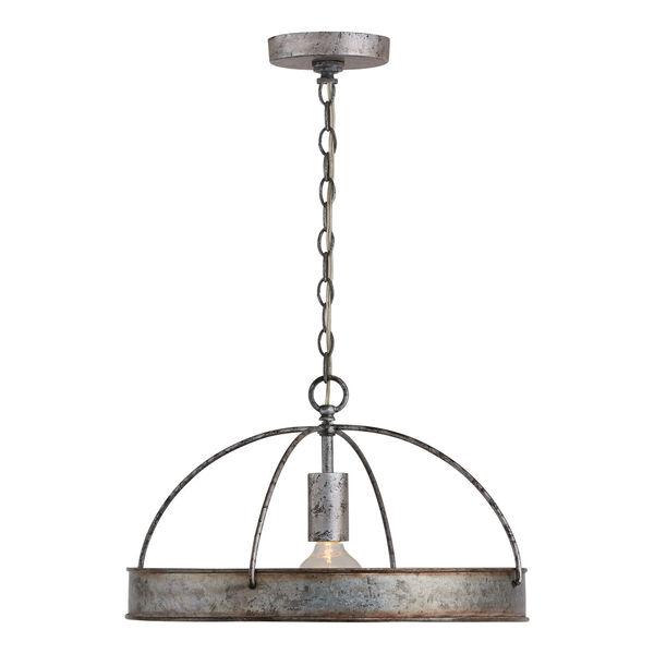 Alvin Antique Galvanized Metal Ring One-Light Pendant, image 2