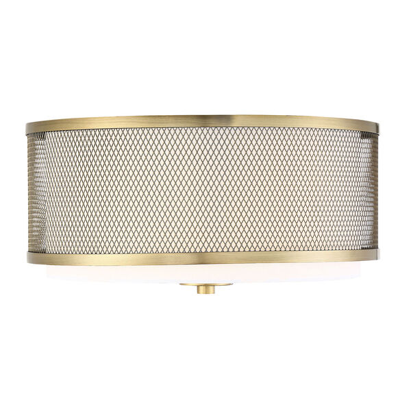 Selby Natural Brass Three-Light Flush Mount Drum  with White Fabric Shade, image 1