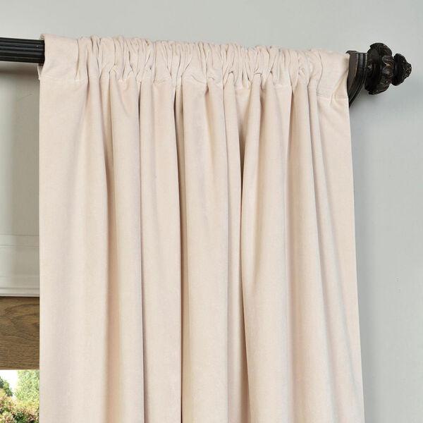 Alabaster Beige Blackout Velvet Pole Pocket Single Panel Curtain, 50 X 84, image 3