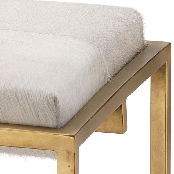 Shelby White Antique Brass Bench, image 2