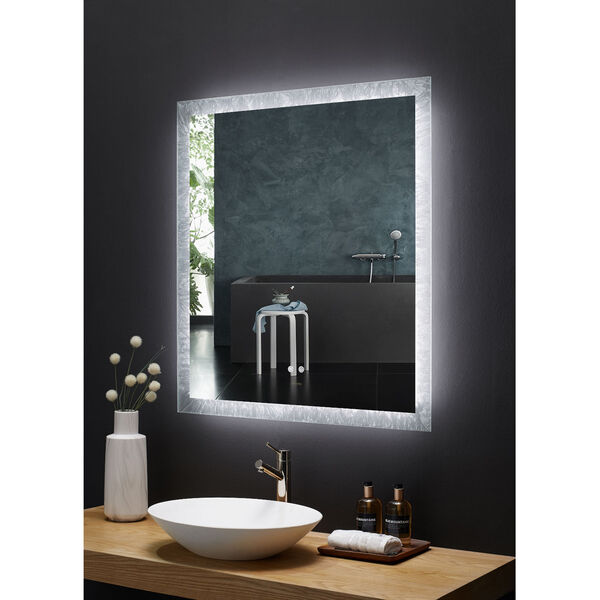 Frysta White 30 x 40 Inch LED Frameless Rectangualar Mirror with Dimmer and Defogger, image 3
