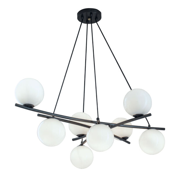Perch Acid Dipped Black Eight-Light Chandelier, image 1