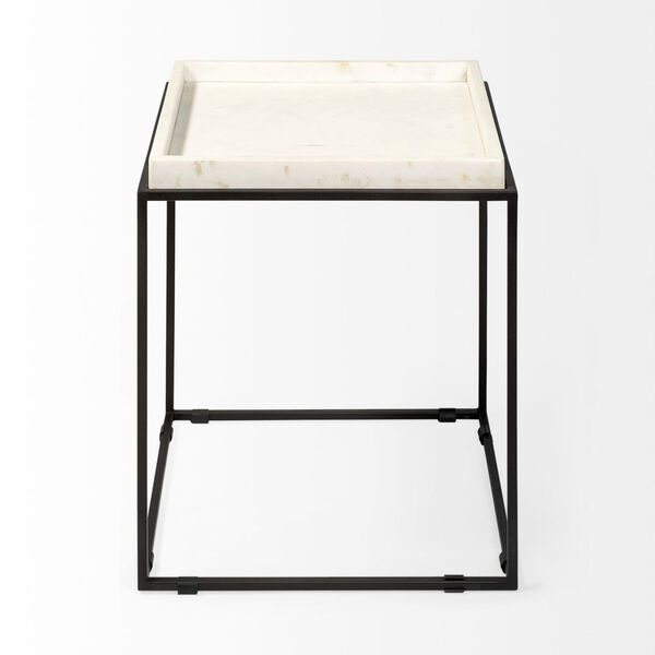 Nathan II Black and White Square Top End Table, image 2