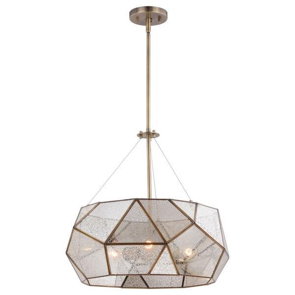 Euclid Aged Brass Three-Light Pendant, image 1
