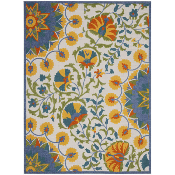 Aloha Blue and Yellow Indoor/Outdoor Area Rug, image 2