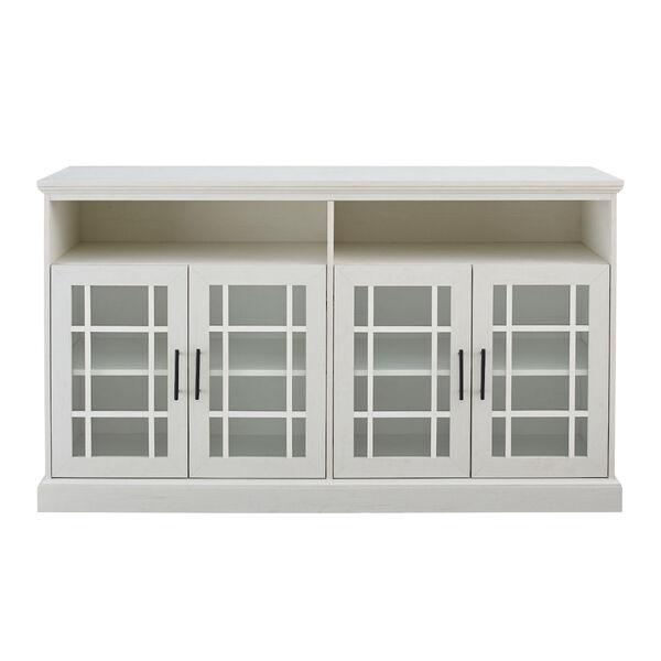 Hazel Brushed White Windowpane Glass Door TV Stand, image 5