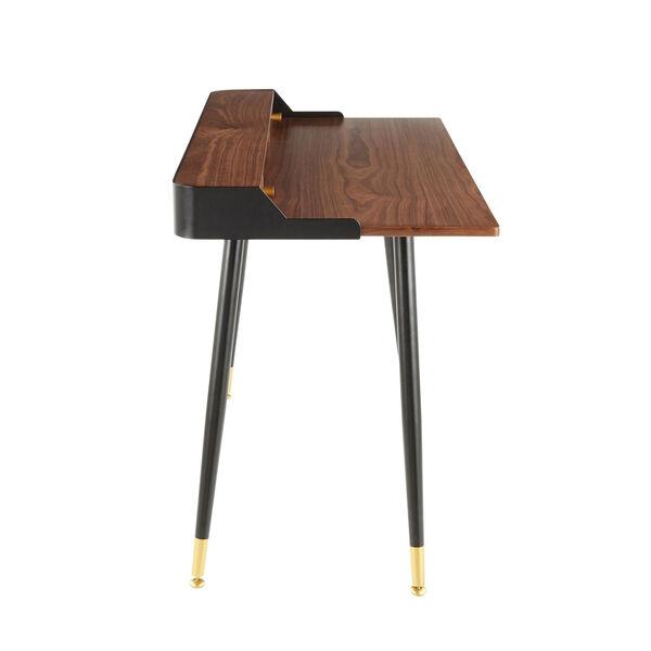 Harvey Black, Walnut Wood and Gold Writing Desk, image 2