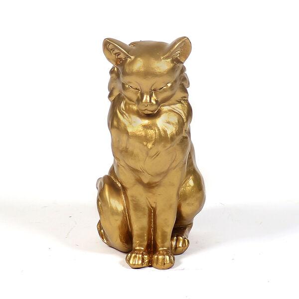 Deep Gold Fiberglass Cat From Venice Figurine, image 1