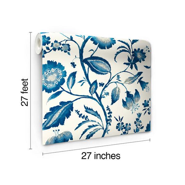 Ashford House Tropics Off-White and Blue Watercolor Jacobean Wallpaper, image 7