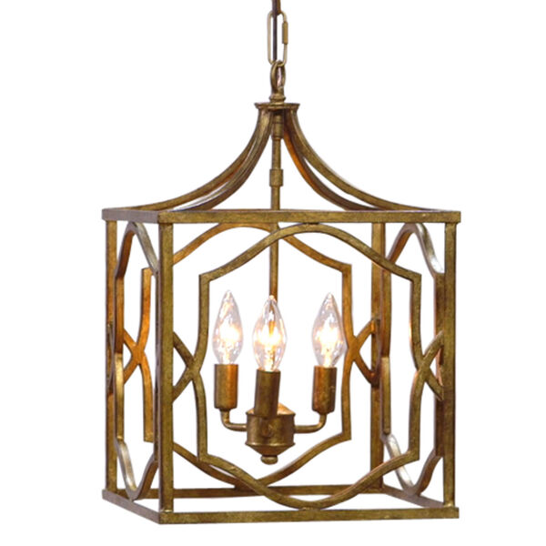 Blakely Antique Gold Three Light Foyer- Antique Gold, image 3