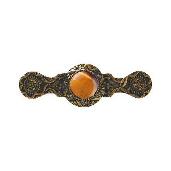 24 K Gold Victorian Jewel Tiger Eye Pull, image 1