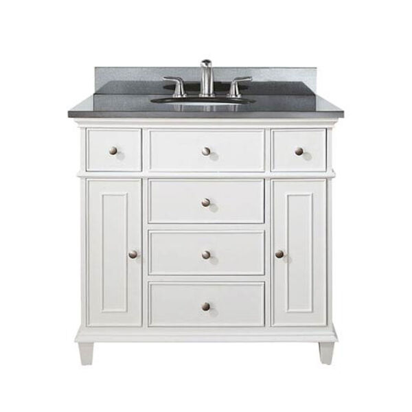 Windsor 36-Inch White Vanity with Black Granite top and Undermount Sink, image 1