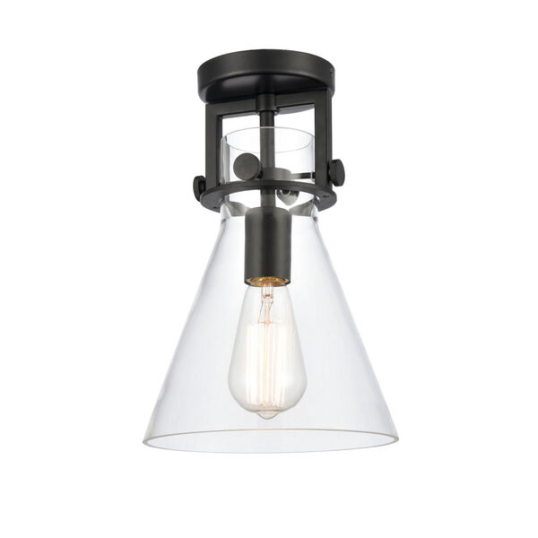 Newton Matte Black LED Semi Flush Mount with Clear Cone Glass, image 1