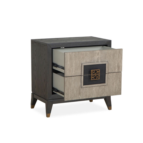 Ryker Nocturn Black and Coventry Gray Nightstand with Drawer, image 2
