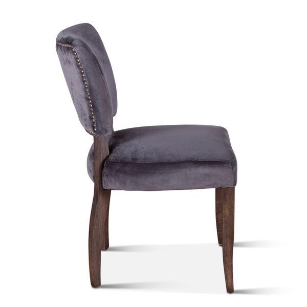 Portia Asphalt Gray and Weathered Teak Velvet Side Chair, Set of 2, image 4