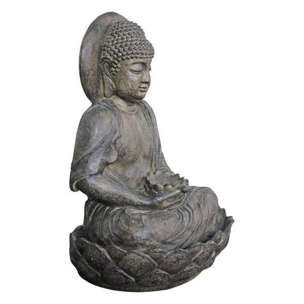 Stone Grey Outdoor Buddha Zen Fountain with LED Light, image 2