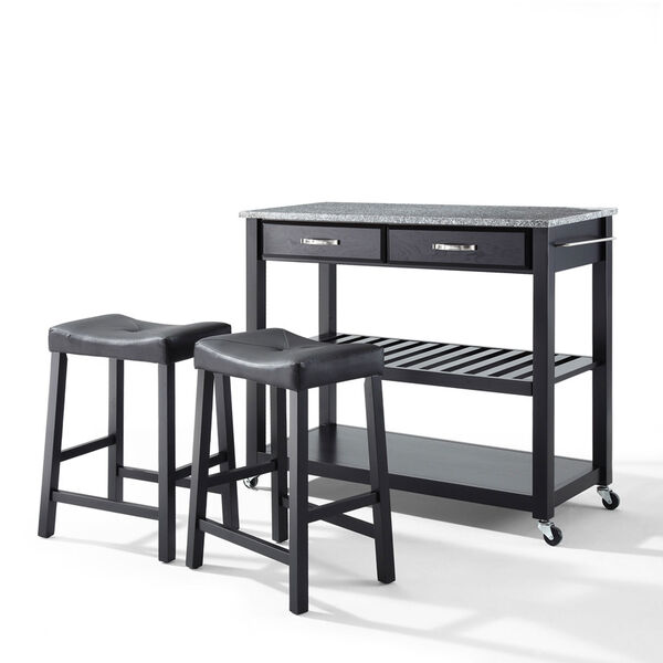 Solid Granite Top Kitchen Cart/Island in Black Finish With 24-Inch Black Upholstered Saddle Stools, image 1