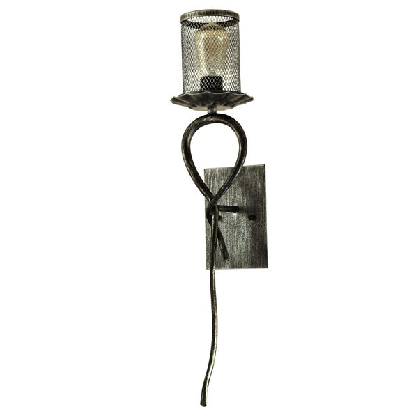 Springdale Silver and Black Ernie One-Light Mesh Wall Sconce, image 1