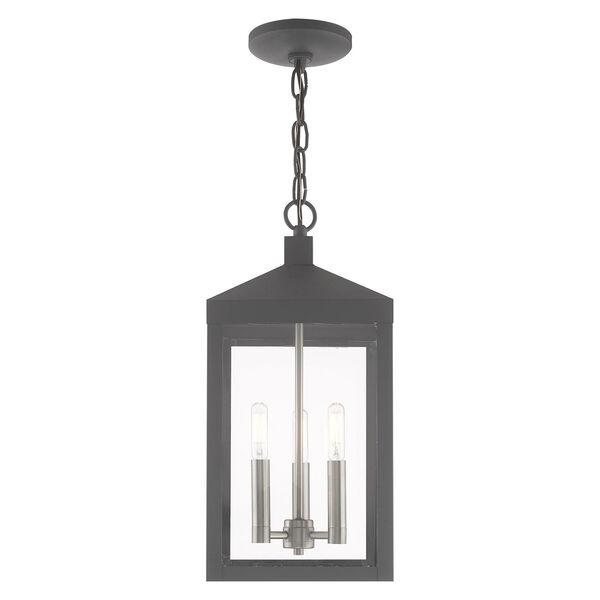 Nyack Scandinavian Gray Eight-Inch Three-Light Pendant Lantern, image 3