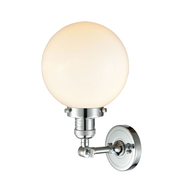 Franklin Restoration Polished Chrome Eight-Inch LED Wall Sconce with Matte White Glass Shade, image 2