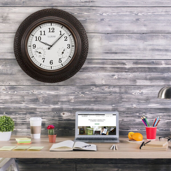 Oil Rubbed Bronze Poly Resin Outdoor Wall Clock, image 3