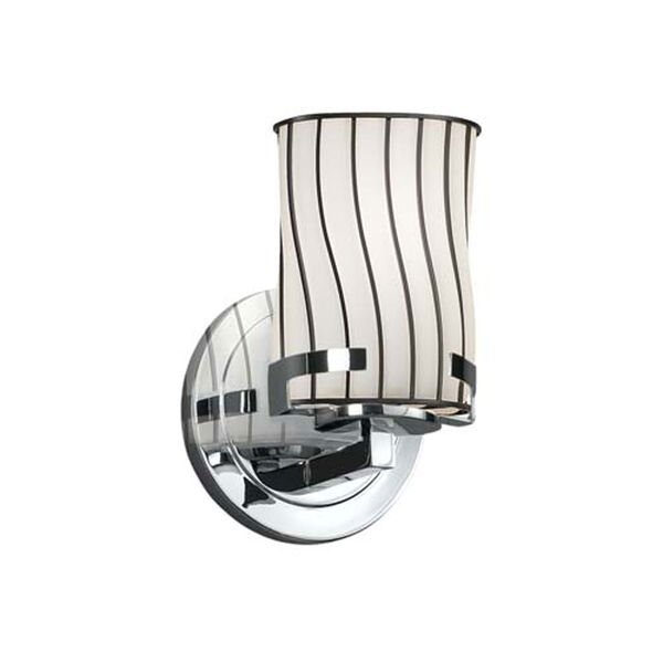 Wire Glass - Atlas Polished Chrome LED LED Wall Sconce with Cylinder Flat Rim Swirl with Opal Shade, image 1